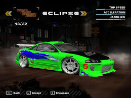 mitsubishi eclipse fast and furious need for speed most wanted mitsubishi eclipse gsx the fast and the