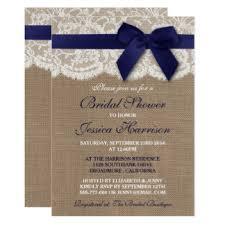 navy lace ribbon lace bridal shower invitations announcements zazzle