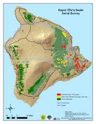 Map Of Hawaii Island Rapid Ohia Death U003e Research U003e Timeline