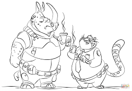 mchorn and benjamin clawhauser from zootopia coloring page free