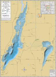 Wisconsin Lakes Map by Big U0026 Little Cedar Lakes Wall Map