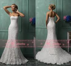 Amelia Sposa Ivory Strapless Full Lace Corset Back Wedding Dresses