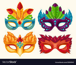 carnaval masks collection of carnival masks decorated vector image