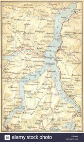 Lake Como Italy Map Italy Lake Of Como 1930 Vintage Map Stock Photo Royalty Free