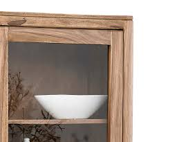 Wohnzimmerschrank 60 Jahre Glasvitrine Boston Sheesham Natur 60 Cm 1 Glastür 1 Holztür