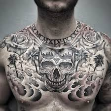 skull california mens upper chest tattoo designs upper chest