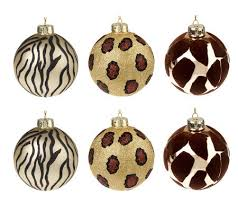 set of 6 embellished animal print glass ornaments page 1 qvc