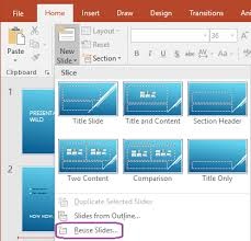 reuse import slides from another presentation powerpoint