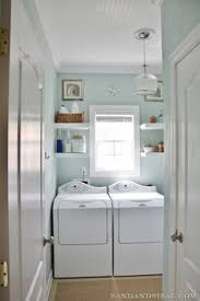 sherwin williams swimming blue and white laundry room with