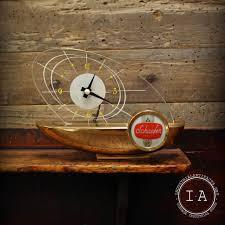 vintage mid century modern schaefer beer light up boat desk clock