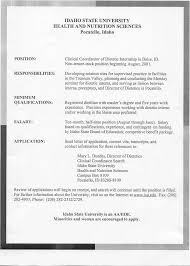 Best Undergrad Resume by Dietetic Internship Resume Free Resume Example And Writing Download