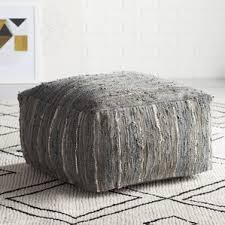Gray Leather Ottoman Ottomans Birch Lane