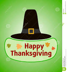thanksgiving day background with pilgrim hat stock illustration