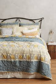 Anthropologie Bed Skirt Stitched Sitara Quilt Anthropologie