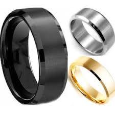 titanium band hot stainless steel ring band titanium silver black gold men sz 8