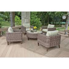 Woodard Patio Table Woodard Willow Springs 5 Woven Patio Chat Set With Cushions