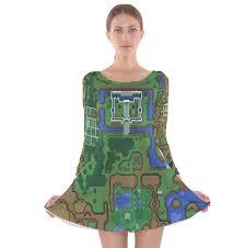 light and dark world map long sleeve velvet skater dress much