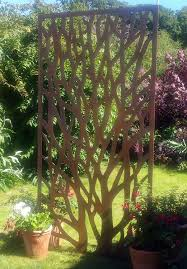 wonderful rustic steel garden metal tree screen 1 8m tall ideal