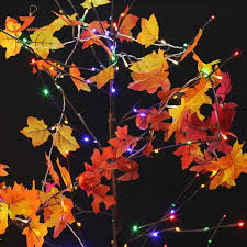 maple leaf garland with lights 5pcs lots colth maple leaves fairy light mixed color leaf autumn