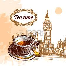 beautiful vector background tea time cup with tea and sketch