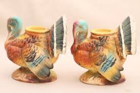 vintage thanksgiving turkey candle holders napco japan ceramic
