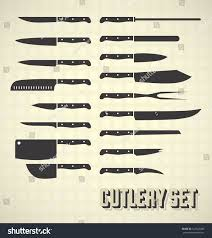 vector set cutlery set kitchen knives stock vector 123526486