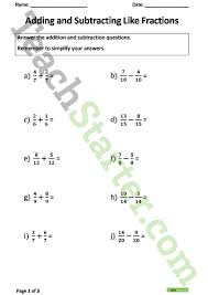 adding and subtracting fractions worksheets teaching resource