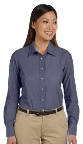 chambray blouse harriton s 100 cotton sleeve spread collar chambray