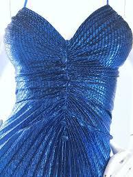 vintage dress 70 s slinky 1970s samir metallic blue pleated disco vintage 70s studio 54