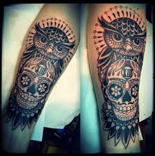 cool owl and skull tattoo on leg for men tattoos for men