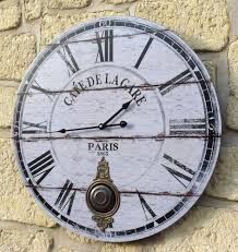 pendule murale cuisine style ancienne grande horloge pendule murale ronde a balancier de