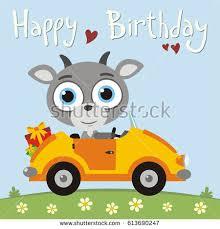 happy birthday funny goat going car stock vector 613690247