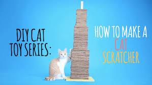 Cardboard Cat Scratcher House Diy Cat Toys How To Make A Cat Scratcher Youtube