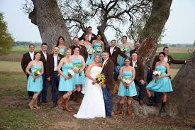 stylish photos of blue bridesmaid dresses with cowboy boots