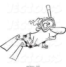 vector of a cartoon snorkeling man outlined coloring page by