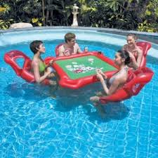 Floating Pool Lounge Chairs Com Texas Hold U0027em Inflatable Pool Poker Set W Card Table