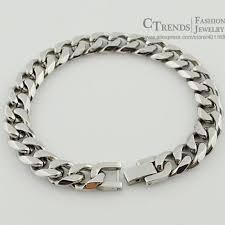 stainless steel bracelet links images Men cuban links chains silver stainless steel bracelet jpg