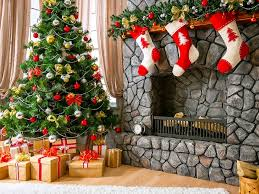 christmas fireplace 2 with red and white socks founterior