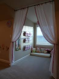 Used Crib Mattress Dormer Window Area Turned Into Cozy Reading Nook With Curtains