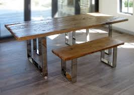 Modern Wood Dining Room Tables Hand Crafted Modern Reclaimed Wood Table And Benches By
