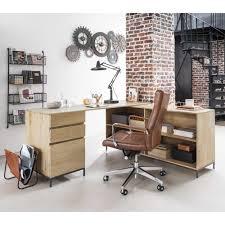 bureau maisons du monde bureau d angle wilson 1 porte 2 tiroirs en manguier et métal noir