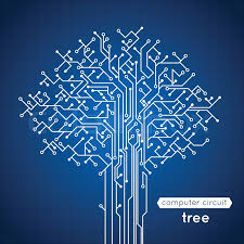 computer circuit board tree creative electronics concept poster