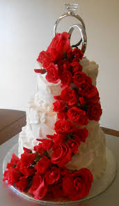 red roses wedding cake all fondantgumpaste roses cake was white