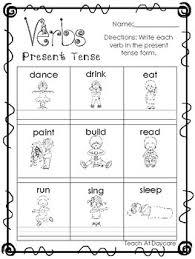 10 verbs present and past tense printable worksheets in pdf file
