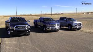 Ford 3500 Diesel Truck - one ton dually pickup truck drag race ends with a win for the 2017