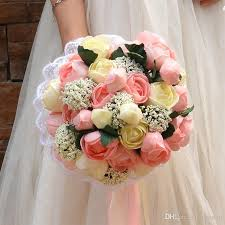 wedding bouquets cheap 2017 new pink bridal bouquets cheap artificial hybrid roses bulk