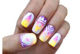 aztec tribal print nail art tutorial youtube