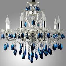 blue crystal chandelier light luxurious silver finished blue crystal chandelier 8 light 18 light