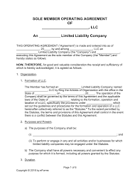 free single member llc operating agreement templates pdf word