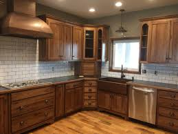Stain Kitchen Cabinets Darker White Subway Tile Dark Grout With Stained Hickory Cabinets